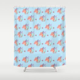 flying pig farts Shower Curtain