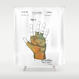 Golf Glove Patent 1955 Shower Curtain