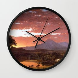 Mount Katahdin, Maine by Frederic Irwin Church Wall Clock