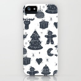 Grey Christmas Objects Decor iPhone Case