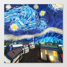 Tardis Art Starry City Night Canvas Print
