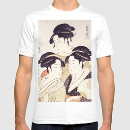 Three Beauties of the Present Day - Japanese Woodblock Print T-shirt