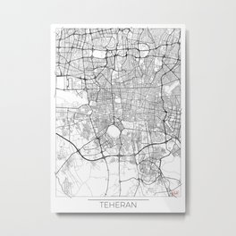 Teheran Map White Metal Print