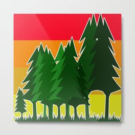 Vintage pine trees, gift idea design for home Metal Print