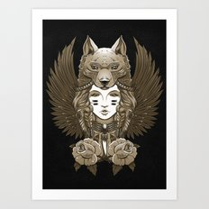 Native girl of the Grey Wolf Tribe Art Print
