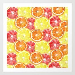 Grapefruit Lemon Orange Pattern Art Print