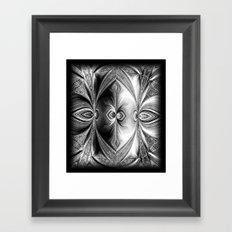 Abstract Peacock. Black+White. Framed Art Print