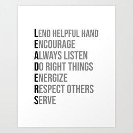 Leader Seven Words, Office Decor Ideas, Wall Art Art Print