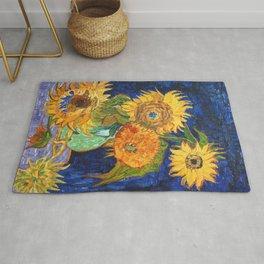Van Gogh, Five Sunflowers 1888 Artwork Reproduction, Posters, Tshirts, Prints, Bags, Men, Women, Kid Rug