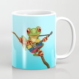 Tree Frog Playing Acoustic Guitar with Flag of Ecuador Coffee Mug