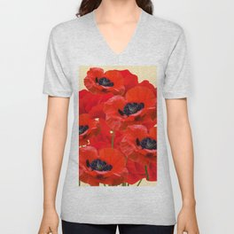 RED ORIENTAL POPPIES ON CREAM COLOR Unisex V-Neck