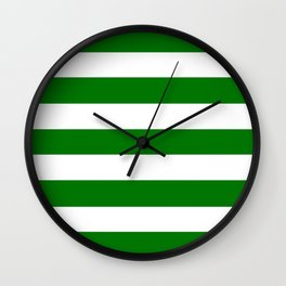 Christmas green - solid color - white stripes pattern Wall Clock