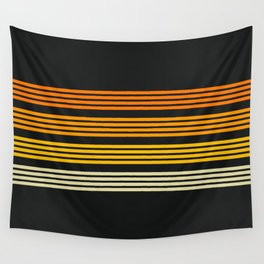 Kagekatsu - Classic Black Orange Retro Stripes Wall Tapestry