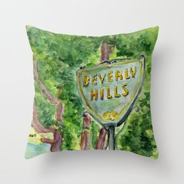 Beverly Hills Street Sign Throw Pillow