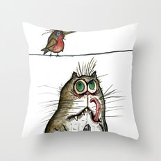 A Cat ponders, fish or poultry? Throw Pillow