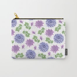 Artistic purple blue green watercolor elegant peonies floral Carry-All Pouch