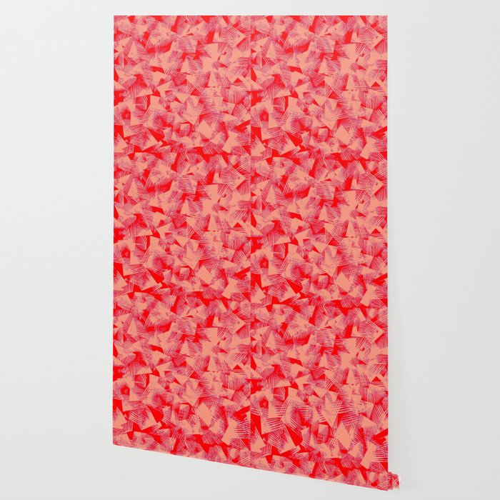 Abstract Peach Color Shapes Against Red Background Pattern Design Wallpaper