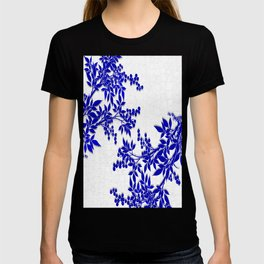 BLUE AND WHITE  TOILE LEAF T-shirt