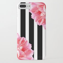 Pink roses on black and white stripes iPhone Case