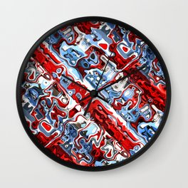 Red White And Blue Abstract Wall Clock