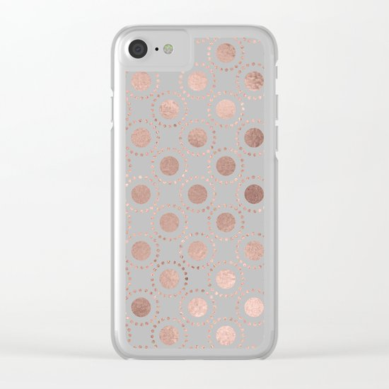 Rosegold polkadots on grey backround 1 Clear iPhone Case