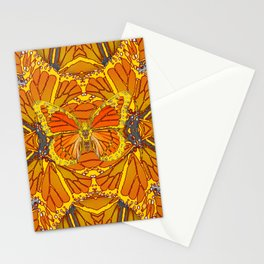 ORIGINAL ABSTRACT ART OF YELLOW-GOLD MONARCH BUTTERFLIES PUZZLE Stationery Cards