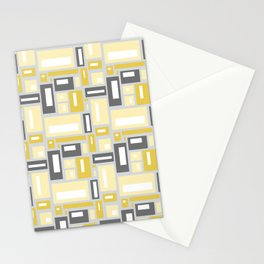 Simple Geometric Pattern in Yellow and Gray Stationery Cards