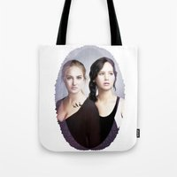 divergent Tote Bags featuring The Divergent Games by Clara J Aira
