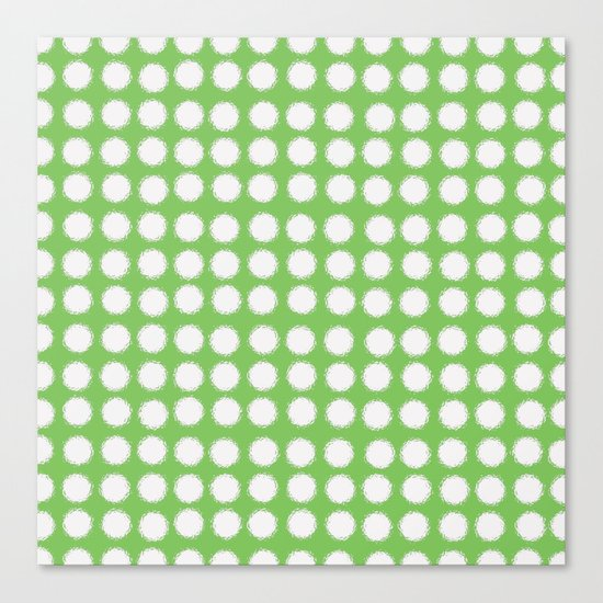 milk glass polka dots in light green Canvas Print