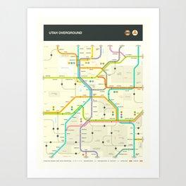 UTAH HIGHWAY MAP Art Print