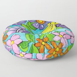Springtime Series #5 Singing Bird Floor Pillow