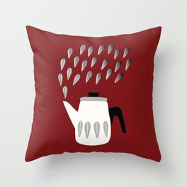 Steaming Coffeepot in Grey Throw Pillow