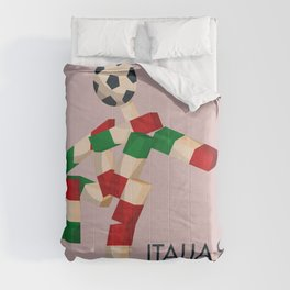 Vintage World Cup poster, Ciao, Italia 90 mascot, old football print Comforters