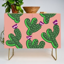 Prickly Cactus with Purple Flowers Credenza