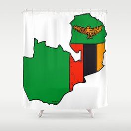 Zambia Map with Zambian Flag Shower Curtain