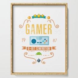Video Gamer 1987 Birthday Retro Gamer design Gift graphic Serving Tray
