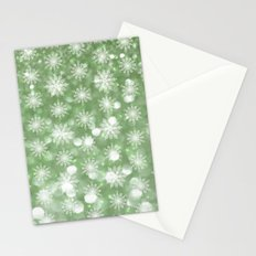Holiday Mint and Flurries Stationery Cards
