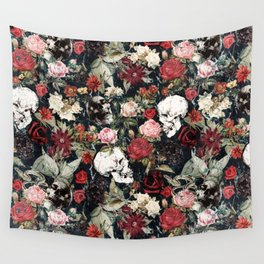 Vintage Floral With Skulls Wall Tapestry