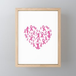 Pink ribbon heart for breast cancer survivor Framed Mini Art Print