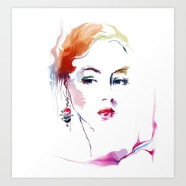 woman with earring 2 Art Print