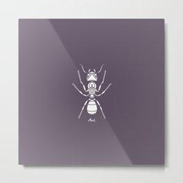 Ant white on Purple Background Metal Print