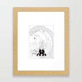 Surfing Friends Framed Art Print