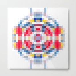 geometric square pattern pixel abstract in red blue yellow Metal Print