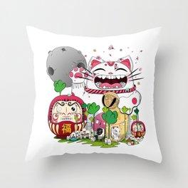 Maneki-neko in the magical world Throw Pillow