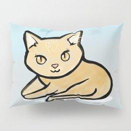 Kawaii Orange kitty with paw background Pillow Sham