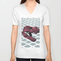 t rex V-neck T-shirts featuring T-Rex by Blake Makes Tees