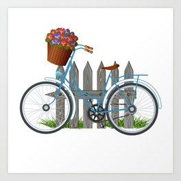 Vintage bicycle with basket full of violets flowers Art Print