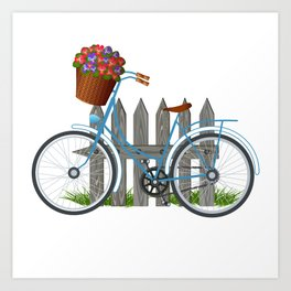Vintage bicycle with basket full of violets flowers Art Print