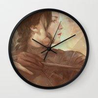meme Wall Clocks featuring MEME 018 Katniss Everdeen by mushroomtale