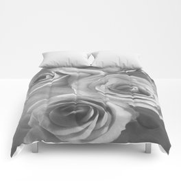 Roses in Black and White Comforters